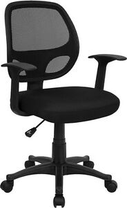 Black Mesh Computer Office Desk Chair With Arms