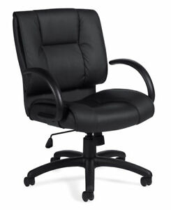 Lot Of 6 Black Leather Conference Table Office Chairs