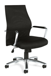 Lot Of 10 Black Mesh Conference Room Table Chairs