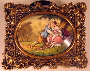 Signed Viennese Enamel Courting Couple In Brass Frame