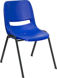 Lot 10 Blue High Impact Plastic Stack Classroom Chairs