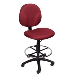 Burgundy Mid Back Drafting Office Chair Stool W footrng