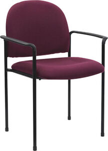 Lot Of 10 Burgundy Fabric Stack Guest Chairs With Arms