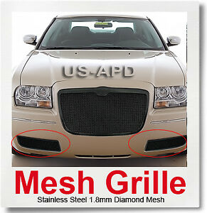 For 2005 2010 Chrysler 300 Stainless Steel Bumper Black Mesh Grille Grill Insert