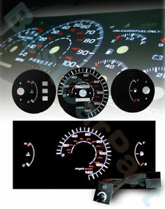 Black 92 95 Civic Mt No Rpm White Indiglo Glow El Gauge