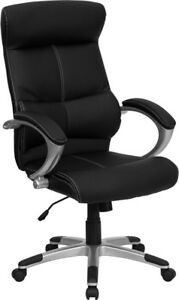 Lot Of 10 Black Leather High Back Office Desk Chairs