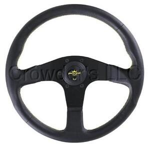 Personal Neo Actis Steering Wheel 350 Mm Black Leather Yellow Stitching