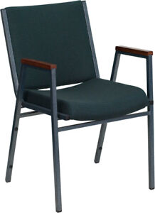 Heavy Duty Green Fabric Stack Office Chair With Arms