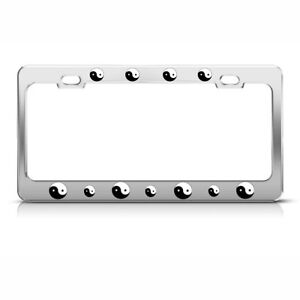 Metal License Plate Frame Ying Yang Chinese Religious Car Accessories Chrome