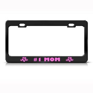 Metal License Plate Frame 1 Mom Pink Hibiscus Flower Car Accessories Chrome