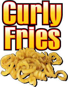 Contour cut Food Sign Decal Curly Fries
