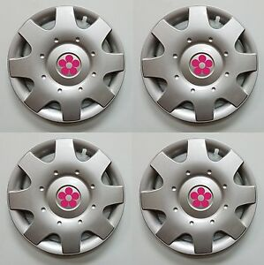 1998 2015 Vw Beetle 16 Pink Daisy Flower Hubcaps Wheelcovers Set