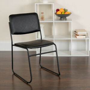 Lot Of 20 Black Vinyl Stack Side Guest Chairs