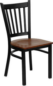 Lot Of 20 Metal Vertical Slat Back Restaurant Chairs With Cherry Seats