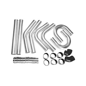 3 8pcs Universal Intercooler Piping Kit Pipe 24 L Silicone T Clamp