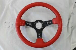 Nrg Steering Wheel 06 Red Leather Black Stitching 3 Inch Deep Dish 350 Mm New
