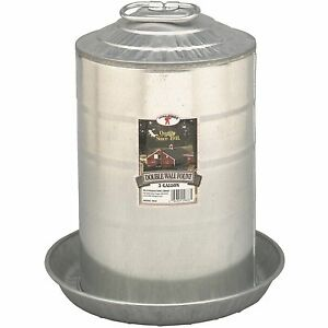 3 Gallon Gravity Double Wall Galvanized Metal Waterer Chicken Coop Poultry Fount