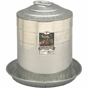 5 Gallon Gravity Double Wall Galvanized Metal Waterer Chicken Coop Poultry Fount