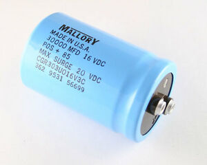 New Mallory 30000uf 16v Large Can Power Electrolytic Aluminum Capacitor Mfd Dc
