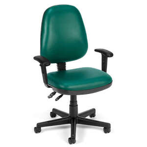 Green Vinyl Ergonomic Posture Task Office Desk Chair With Arms