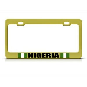 Nigeria Nigerian Flag Gold Country Metal License Plate Frame Tag Holder