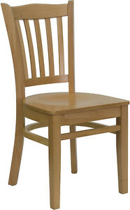 20 Natural Finish Wood Frame Vertical Slat Back Restaurant Chairs With Wood Seat