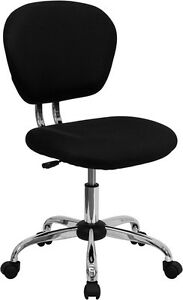 Armless Mid Back Office Desk Chair Black Mesh Upholstery And Chrome Accents