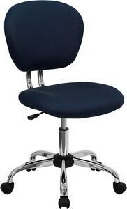 Armless Mid Back Office Desk Chair Navy Blue Mesh Upholstery Chrome Accents