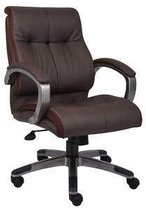 Brown Leather Executive Mid Back Computer Desk Office Chair
