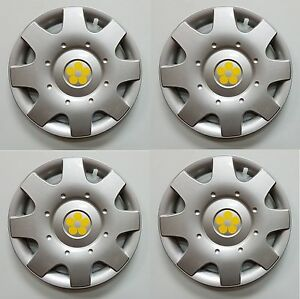 1998 2009 Vw Beetle 16 Yellow Daisy Flower Hubcaps Wheelcovers Set Of 4 New