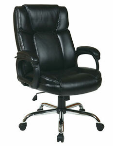 Executive Black Eco Leather Big And Tall Office Chair 350 Lbs Weight Capacity