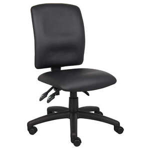 Black Armless Multi function Leather Ergonomic Task Office Desk Chair