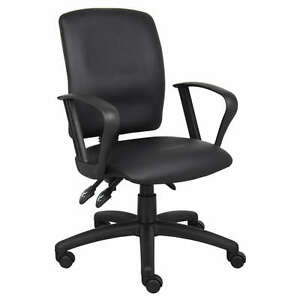 Black Leather Ergonomic Task Office Desk Chair