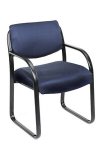 Boss Blue Fabric Guest Office Chair Steel Frame New