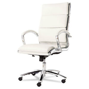 Lot Of 8 High Back White Leather Conference Room Table Chairs With Padded Arms