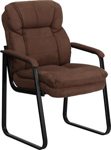 Brown Microfiber Fabric Sled Base Computer Office Desk Chair