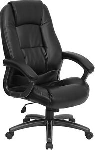 Overstuffed Padded Seat And Back Black Leather Office Desk Chair