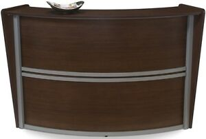 Contemporary Reception Desk In Walnut Finish With Silver Frame
