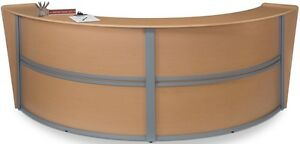 Contemporary Double Unit Reception Desk In Maple Finish With Silver Frame