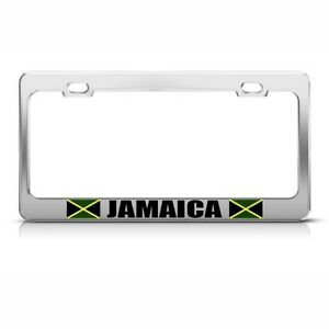 Jamaica Jamaican Flag Country Metal License Plate Frame Tag Holder