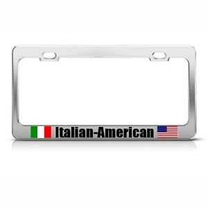 Italian American Italy Country Metal License Plate Frame Tag Holder