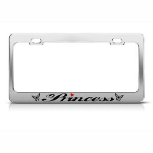 Butterfly Princess License Plate Frame Stainless Metal Tag Holder