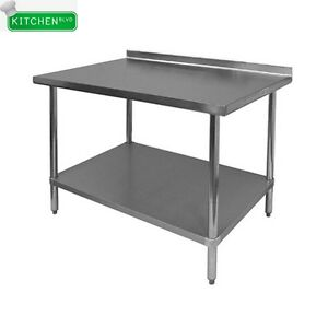 1 1 2 Rear Upturn Work Tables Stainless Steel Top 30 x96