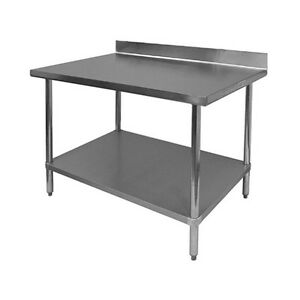 4 Rear Upturn Work Table All Stainless Steel 30 x60