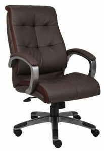 Lot Of 12 Brown Leather High Back Conference Room Office Chairs