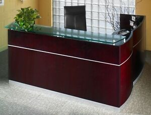 Mayline Wood Veneer Napoli L shape Reception Desk W Frosted Glass Counter