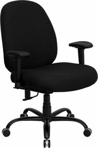 Big Tall Fabric Computer Desk Office Chair With Arms 400 Lbs Weight Capacity