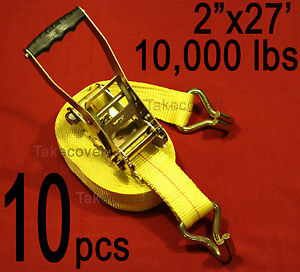 Ten 10x 2 X 27 10000 Lbs Ratchet Tie Down Straps Wire J Hook Ends Towing Wh