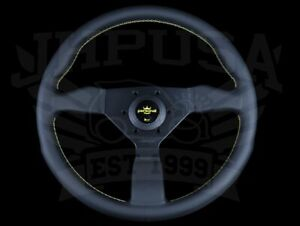 Personal Grinta 350mm Black Leather Steering Wheel W Yellow Stitch 6430 35 2095