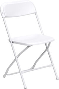 Lot Of 150 White Steel Frame Folding Chairs With 650 Lb Capacity